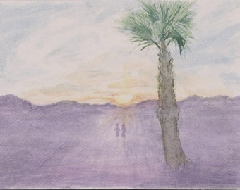 Palm Tree and Sunset Original Watercolor Painting 10x7inch