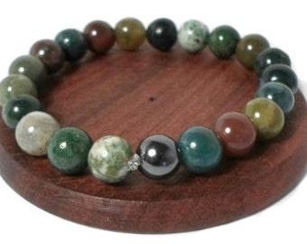 Indian Agate healing gemstone stretch bracelet for luck Chakra Jewellery Reiki Yoga Agate Jewellery
