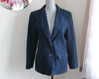 70s Navy Blue Ultrasuede Jacket by Count Romi Coat Blazer Size Large