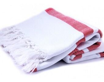 SALE Herringbone Red & White Bath Towel