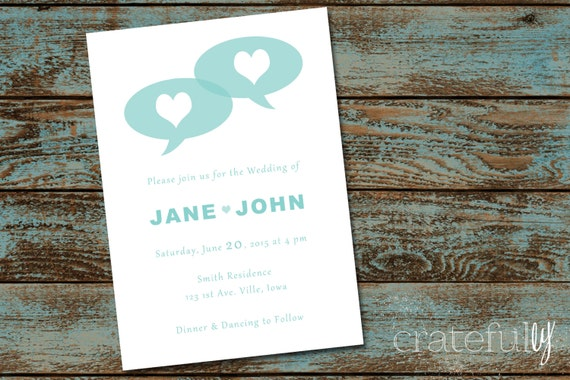 Wedding Invitation Speech Bubble Heart Digital Printable