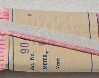 vintage 1960s pale pink striped piping edge on white all cotton lip trim  10 meter bolt