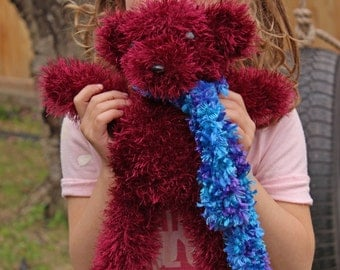 Hand Knit Stuffed Animal Teddy Bear toy is soft and squishy and filled with love