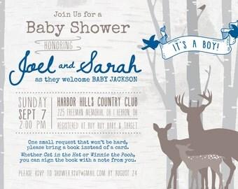 Deer Woodland Baby Shower Invitation DIGITAL FILE