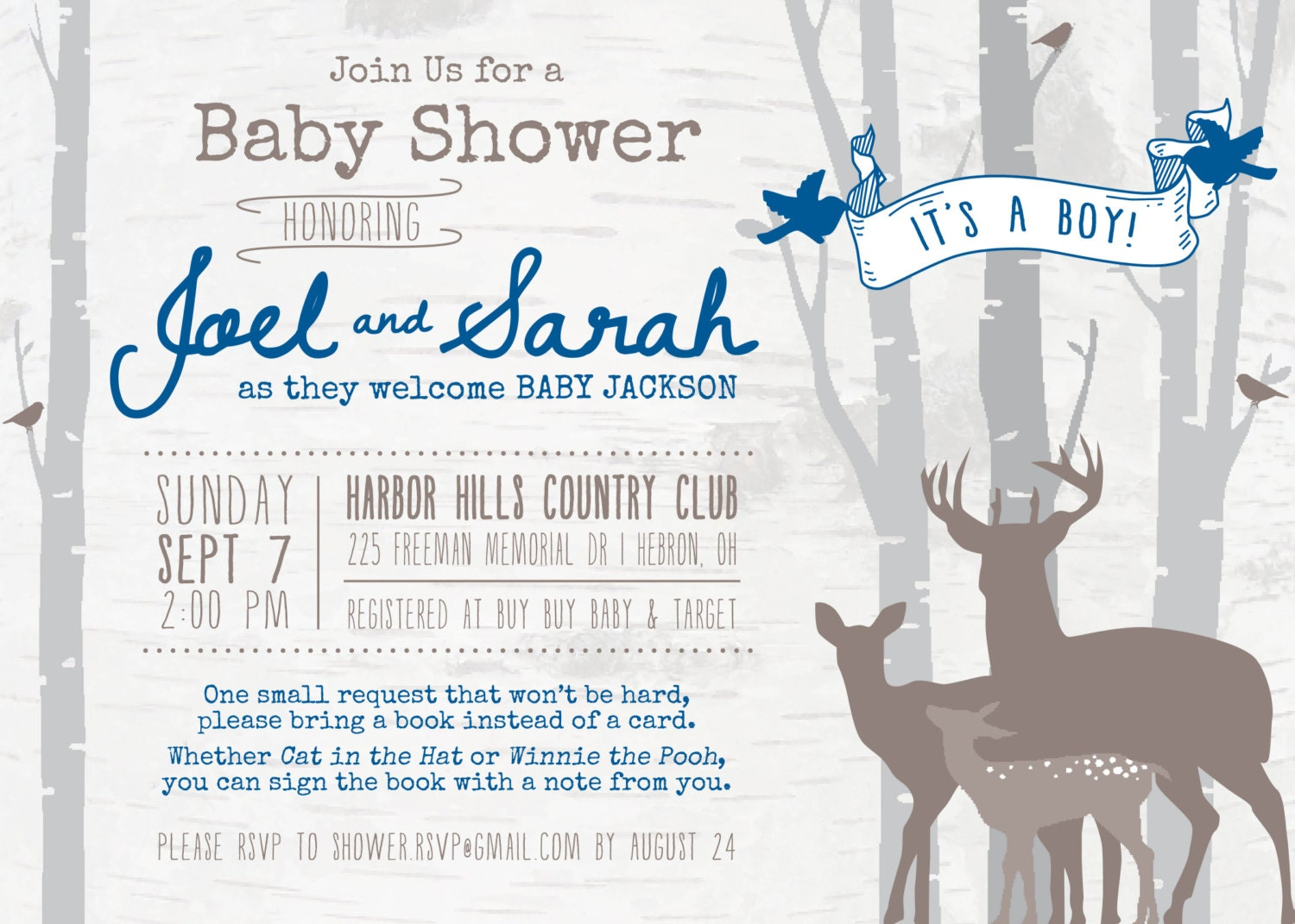 deer woodland baby shower invitation digital file