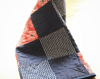 Red and Navy Baby Rag Quilt