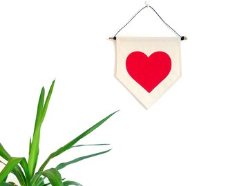 BIG Red Love Heart Wall Banner. Affirmation Wall Hanging / Handmade Fabric Wall Flag / Home Decoration