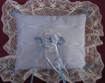 "Wedding ring pillow,light lavender moire taffeta,satin rosette,ivory lace,blue ribbon,11""x13"""
