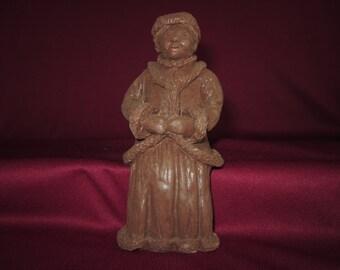 "Mrs. Santa Claus,5"" shelf sitter,molded pecan resin figurine,vintage,craft,unpainted"