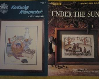 2 cross stitch patterns,Kentucky Homemaker,Under The Sun,country designs,geese,folk art