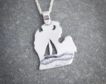 Michigan Jewelry, Michigan necklace, Sailboat Jewelry with lower peninsula in sterling silver