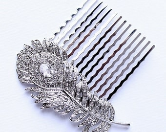 Crystal Feather Hair Comb Rhinestone Silver Comb Wedding Bridal Bridesmaid Feather Hair Comb Jewelry Hair Accessory Combs