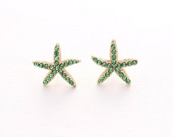 Starfish Earrings Beach Wedding Bridal Bridesmaid Crystal Gold Green Star Fish Earring Accessory Nautical Beach Green Jewelry