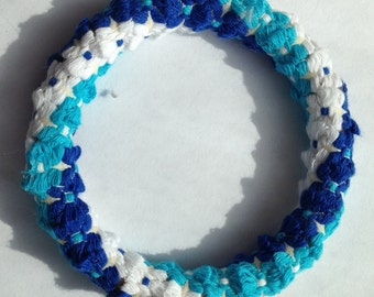 White and Blue Flower Bangle