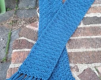 Turquoise Crocheted Fringe Scarf