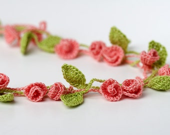 Crochet Pattern Rose Garden Necklace Bracelet  - Digital file PDF