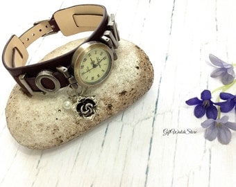 "Retro Leather Watch, Love Leather Band Watch, Leather Bracelet Watch, Wrist Watch, Dark Brown Watch, Vintage Leather Watch ""flower"" charm"