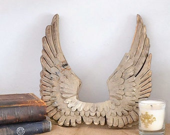 Shabby Cottage Chic French Gold Angel Wings Wall Home Decor Holiday Wooden Heavenly Wall Decor