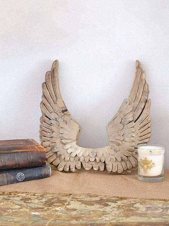 Wood Wings Wall Decor : Shabby cottage chic french gold angel wings wall home decor