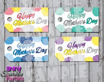 Printable MOTHER'S DAY GIFT Tags - Flowered Mother's Day Tags - Diy Mother's Day Gift Tags - Mom's Day Tags - Instant Download
