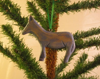 Hand Carved Wood Donkey Ornament