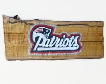 New England Patriots Sign, Patriots wood sign, Patriots log slice sign, Patriots home decor, husband gift, Patriots Christmas gift for man