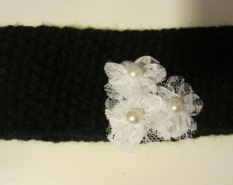 Girls handknit black headband embellished with white lacey flowers and center pearl buttons  black