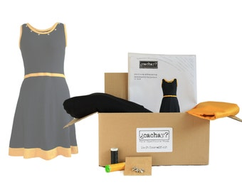 DIY Kit To Make A Jersey Dress With Waistband, black/yellow, 100% organic cotton