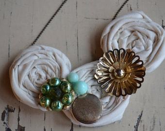 Rosette necklace with vintage pieces