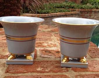 Pair of Mid Century Light Blue Ceramic Vases or Planters with Gold Feet