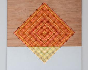"Modern, Geometric Cross Stitch Wall Hanging, Laser Cut Birch, 12"" x 12"", Diamond Pattern, Color Blocked Oranges and Yellows"