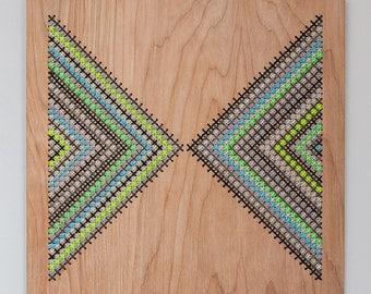 "Wall Hanging, Modern Geometric Cross Stitch, Laser Cut Birch, 12"" x 12"", Opposing Triangle Pattern in Greys and Neons"