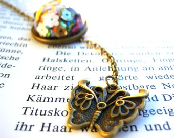Bronze, bronze tone glass dome pendant necklace butterfly colourful sequins springly frippery