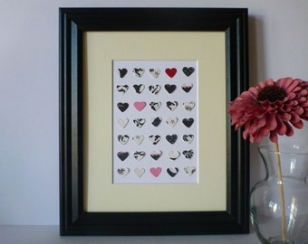"Paper Heart Wall Art - Black, White with Pops of Color, 8"" x 10"""