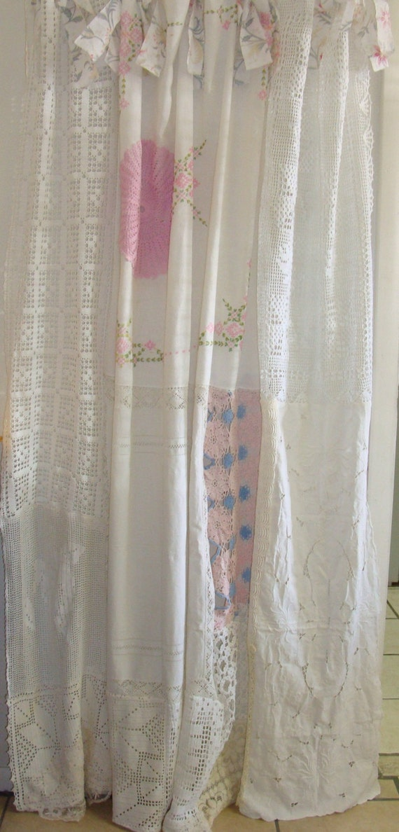 Shabby chic shower curtain vintage crochet vintage for Shabby chic rhinestone shower hooks