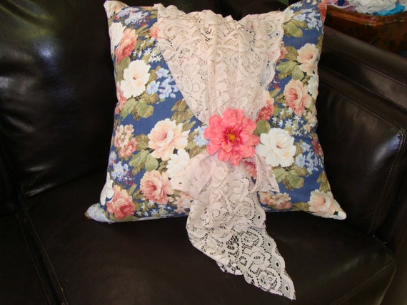 Shabby Chic Gypsy Throw Pillow Cabbage Roses Vintage Lace