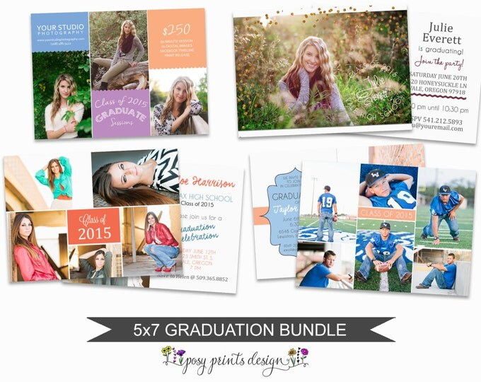Graduation Bundle of Photoshop Templates - 5x7 Digital Photography Files - Template for Photographers - Instant Download - GCB01