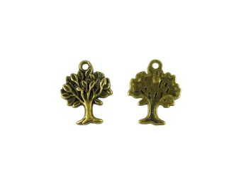 CLEARANCE 100 x Antique Bronze Tree Pendant Charm 17 x 21mm