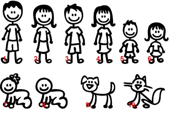 Top Set of 8 Stick Figure Family Car Decal car family stickers TI42