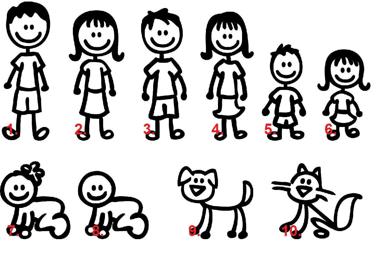 Set of 8 Stick Figure Family Car Decal car family stickers