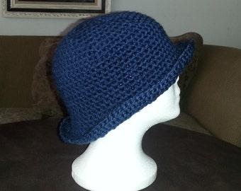 Crochet Cloche Hat, Crochet Hat, Navy Blue Crochet Hat With Brim, Crochet Winter Hat, Women's Crochet Hat, Deep Blue Crochet Bowler Hat