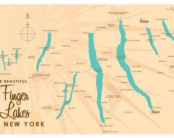 Finger Lakes, NY Map Print