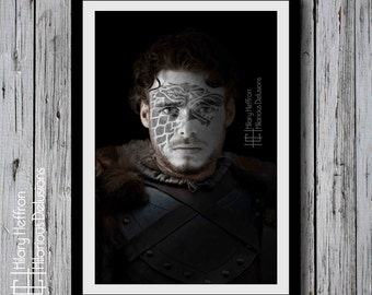 Robb Stark Winterfell War Paint, Game of Thrones, House Stark Graphic Wall Print, Hand Signed by Artist