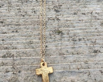 handmade 14K gold filled cross necklace