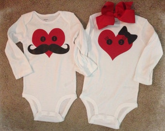 Twin matching Valentine onesies boy girl set hair bow rompers