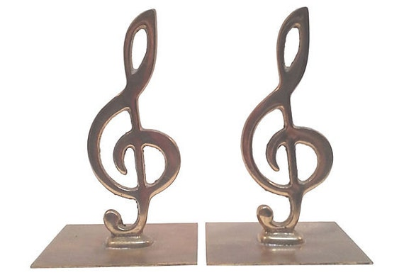 Brass treble clef bookends pair by picasovintage on etsy - Treble clef bookends ...