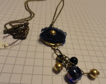 Antique Bronze 29 Inch Necklace with Navy & Amber Accents