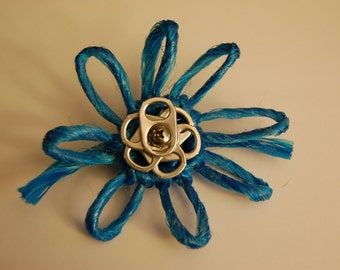 Upcycled Baling Twine and Pop Tab Flower Clip