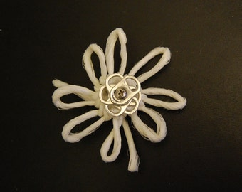 Upcycled White Baling Twine and Pop Tab Flower Clip