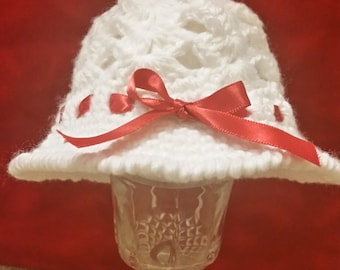 White Baby Cloche Hat with Red Ribbon